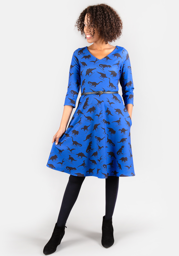 Demi Navy Dinosaur Print Dress