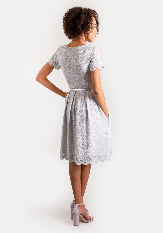 Lacey Grey Scalloped Lace Dress