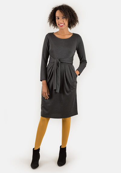 Toni Charcoal Self Belt Dress