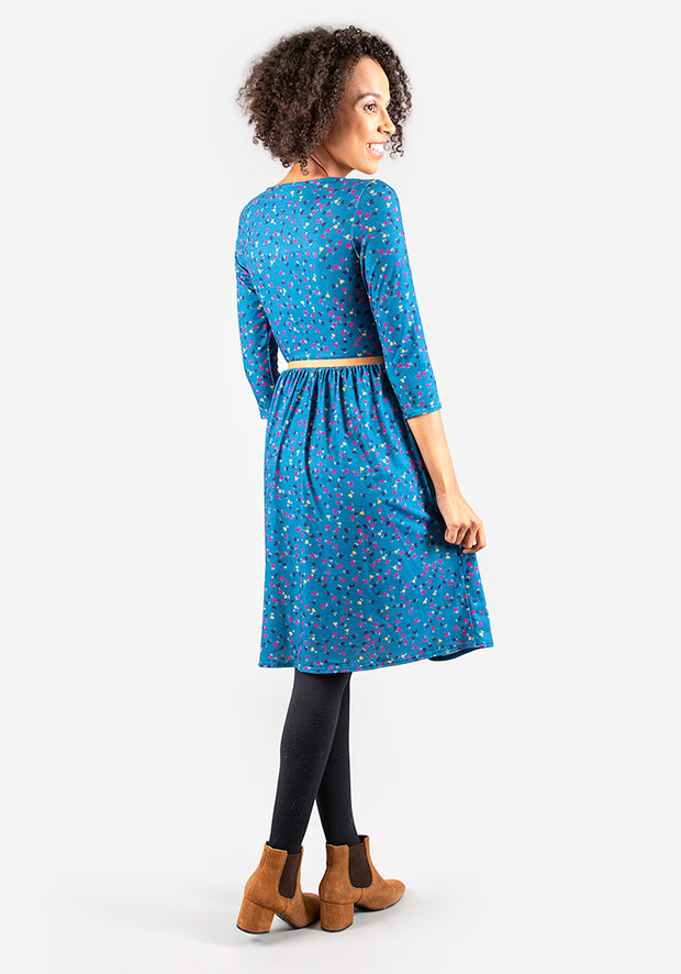 Eliza Teal Ditsy Heart Print Dress