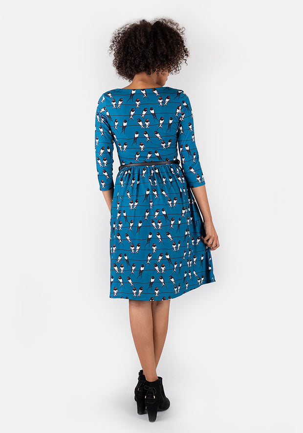 Yasmin Teal Swallow Print Dress