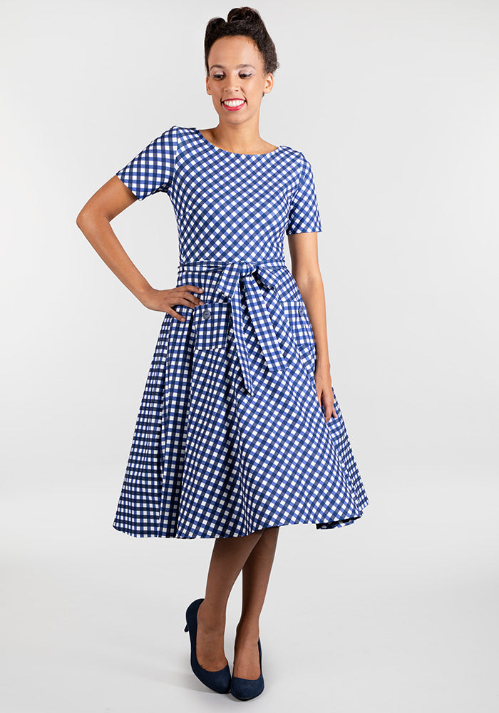 Rita Blue Gingham Dress