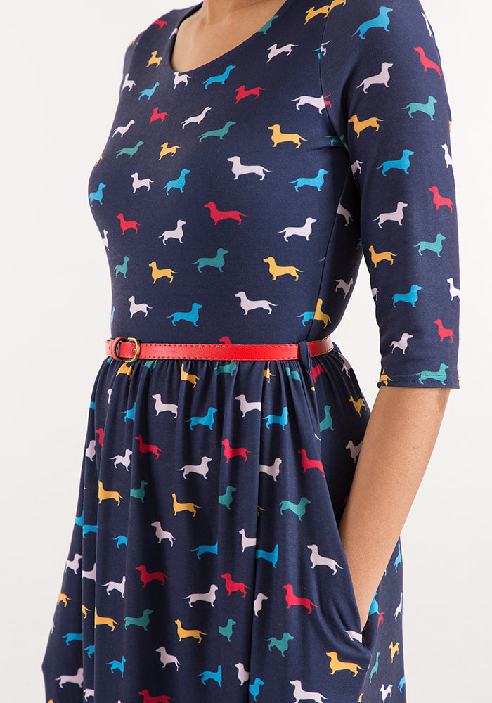 Fran Navy Dog Print Dress