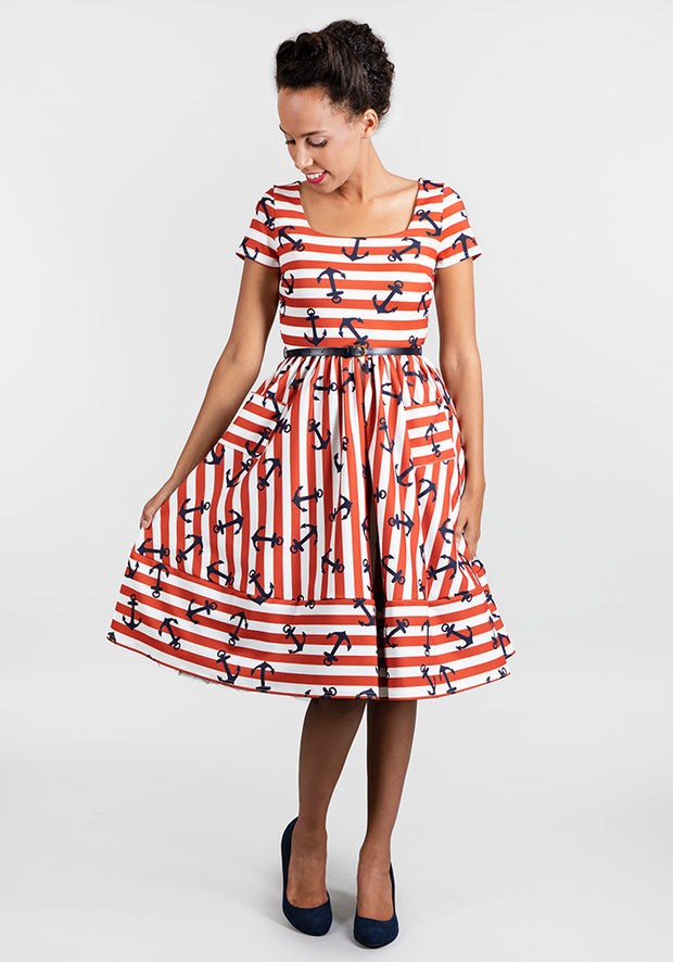Anne Anchor Print Stripe Dress