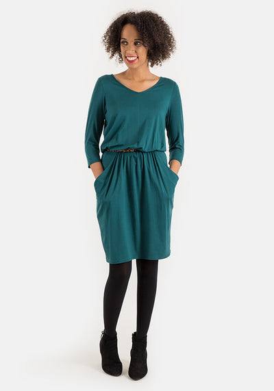Olive Dark Green Blouson Waist Dress