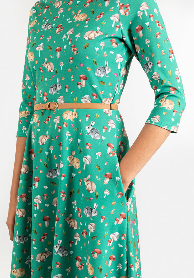 Clover Rabbit & Toadstool Print Dress