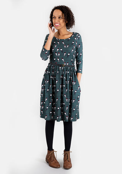 Yasmin Green Swallow Print Dress
