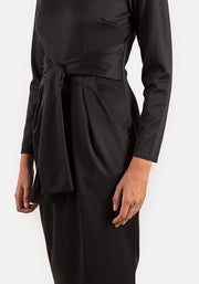 Toni Black Self Belt Dress
