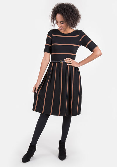 Bonita Black & Camel Reversible Stripe Dress