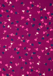 Eliza Wine Ditsy Heart Print Dress