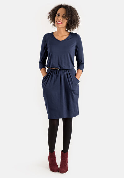 Olive Navy Blouson Waist Dress