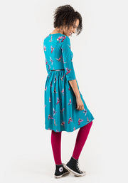 Jackie Teal Hummingbird Print Dress