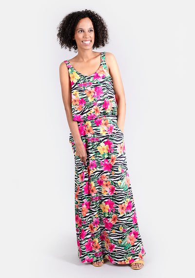 Zoey Zebra Stripe Maxi Dress