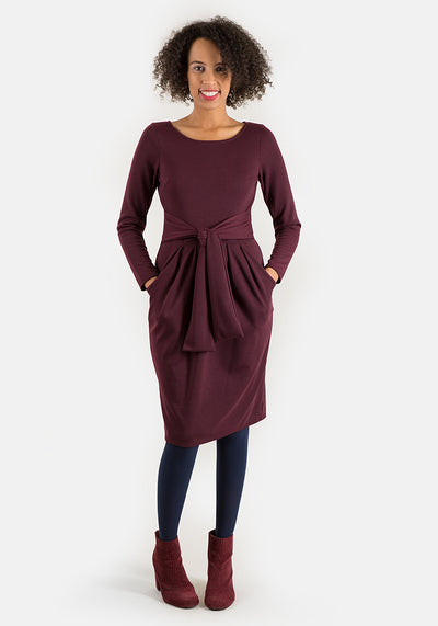 Toni Wine Self Belt Dress