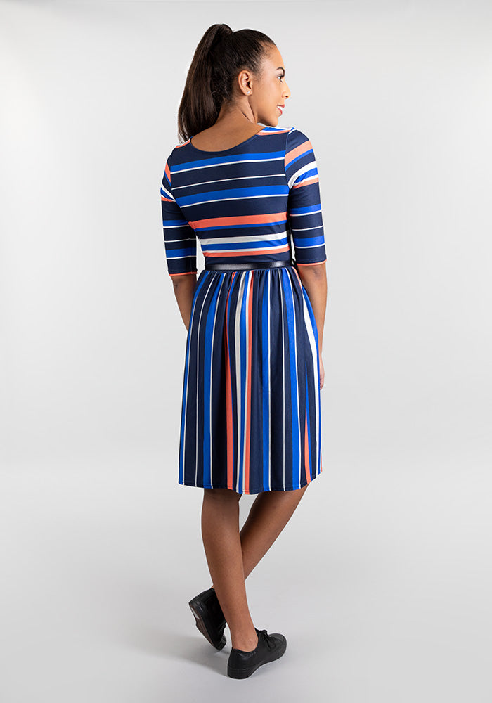 Serena Blue Stripe Dress