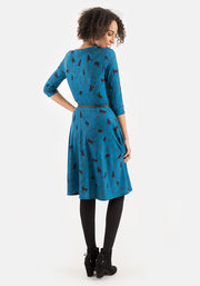 Kitty Teal Cat & Paw Print Dress