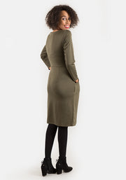 Toni Khaki Self Belt Dress