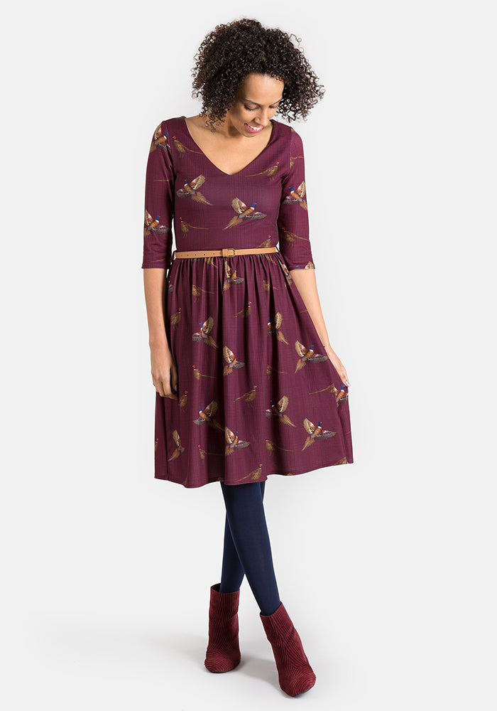 Phyllis Wine Pheasant Print Dress