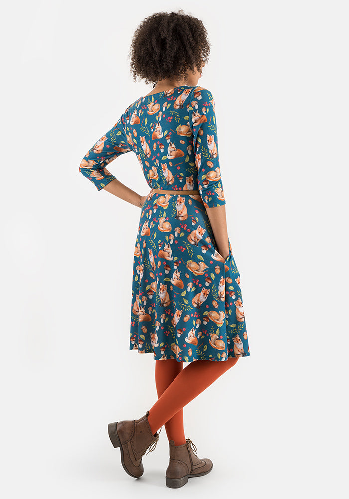 Vicky Teal Fox Print Dress