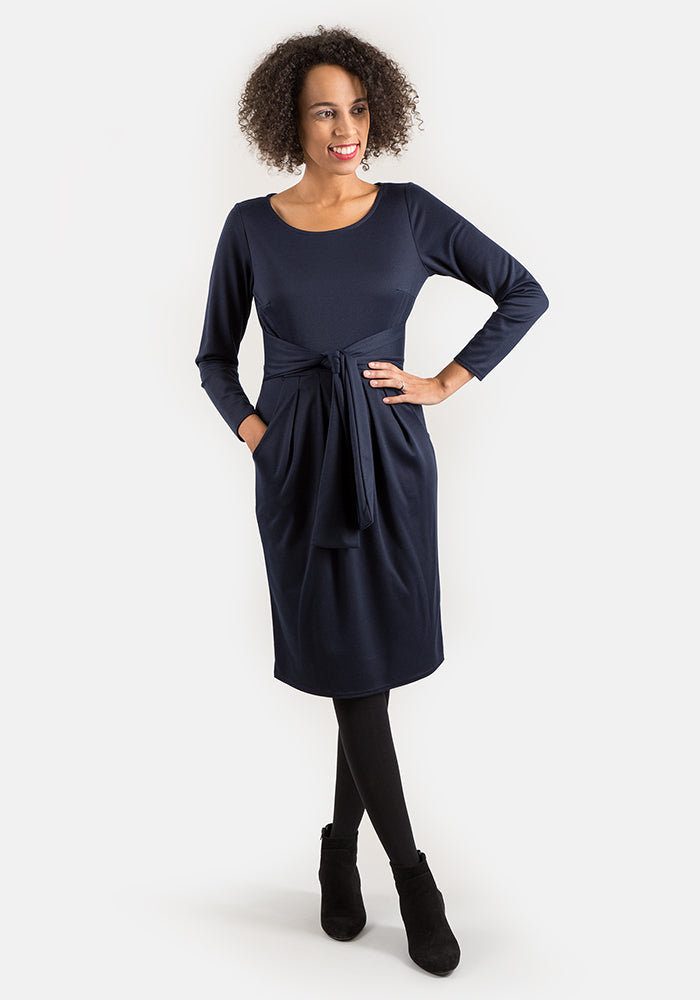 Toni Navy Self Belt Dress