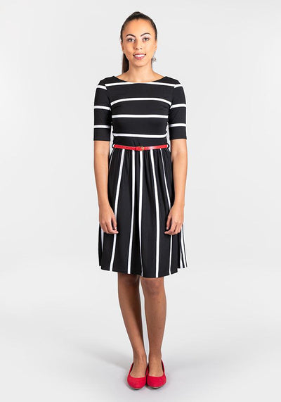 Bonita Black & White Reversible Stripe Dress