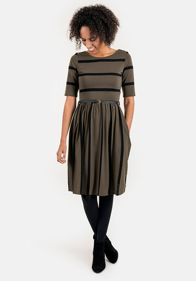 Bonita Khaki & Black Reversible Stripe Dress