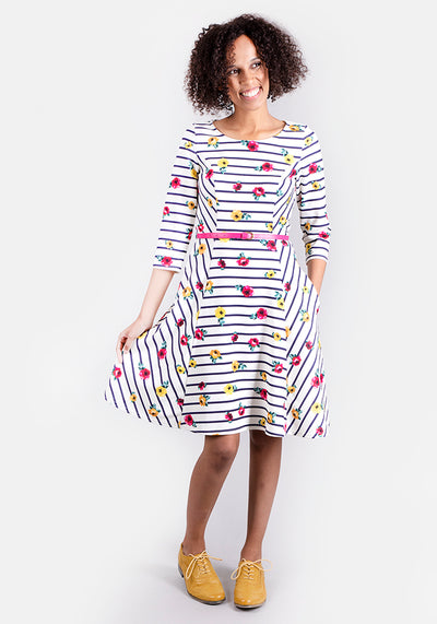 Shelly Stripe Floral Dress