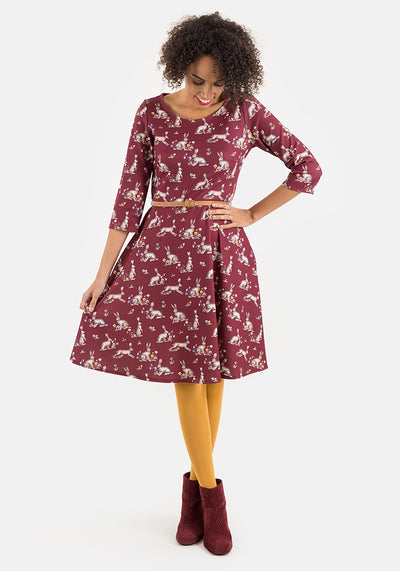 Harriet Wine Hare Print Dress