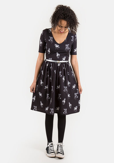 Carin Unicorn Print Dress Black