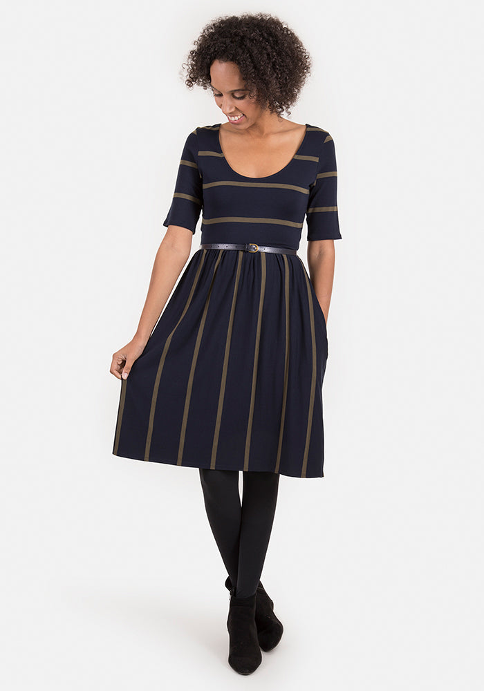Bonita Navy & Khaki Reversible Stripe Dress