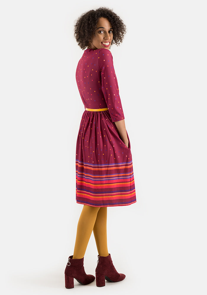 Nancy Wine Spot Border Print Dress