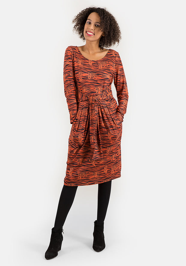 Tia Self Tie Tiger Print Dress
