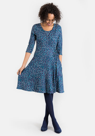 Sonia Navy & Teal Mock Wrap Dress