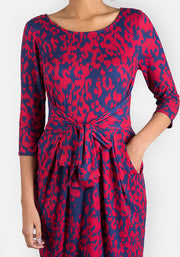 Cynthia Blue & Red Tie Waist Dress
