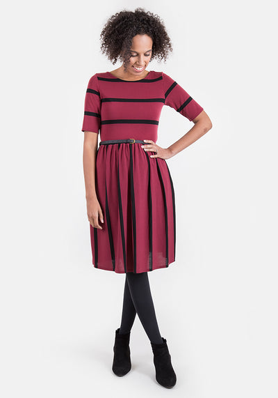 Bonita Wine & Black Reversible Stripe Dress