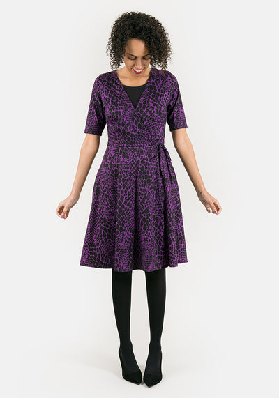 Simone Purple Snakeskin Print Dress
