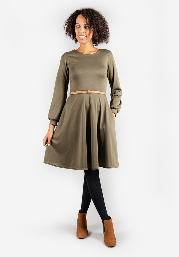 Caroline Khaki Long Sleeve Dress