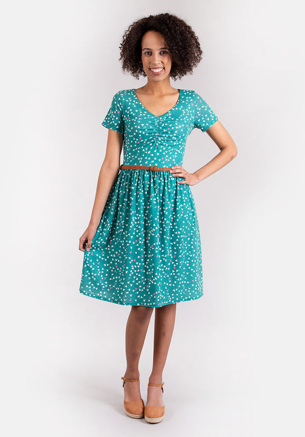 Elizabeth Green Heart Print Dress