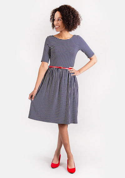 Ella Navy Stripe Dress