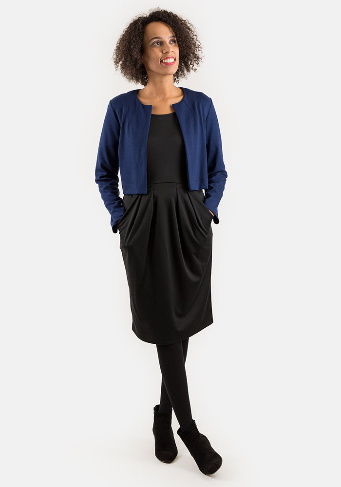 Janet Navy Cropped Jacket