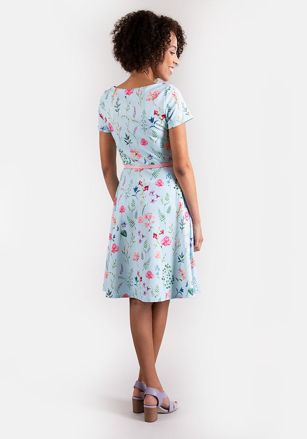 Maisie Pastel Blue Floral Tea Dress