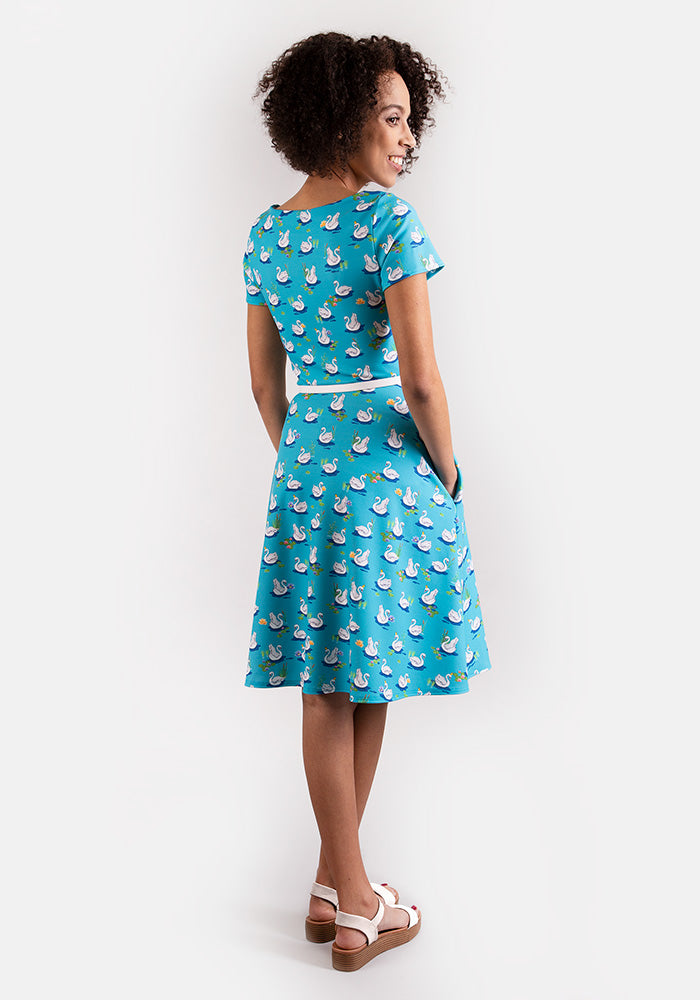 Sally Swan Print Dress