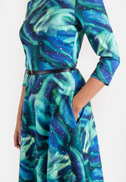 Sky Northern Lights Print Dress