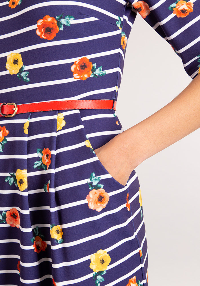 Suzy Navy Floral Stripe Dress