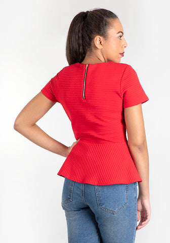 Vera Red Zip Top