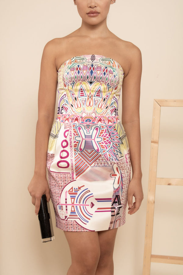 Mary Katrantzou Strapless Printed Mini Dress