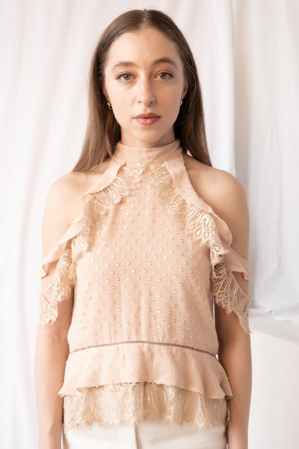 Jonathan Simkhai Silk and Lace Top