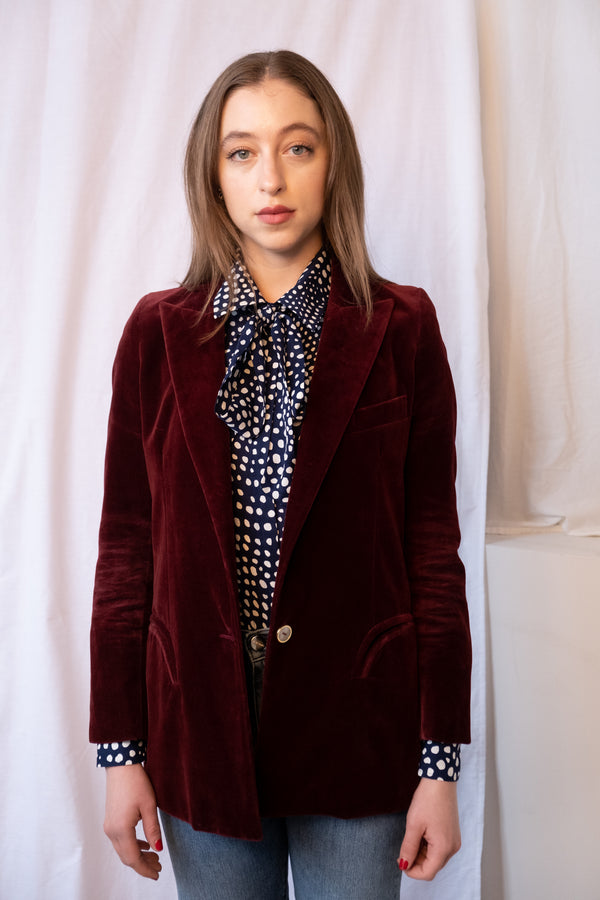 Blazé Milano Velvet Single-Breasted Blazer