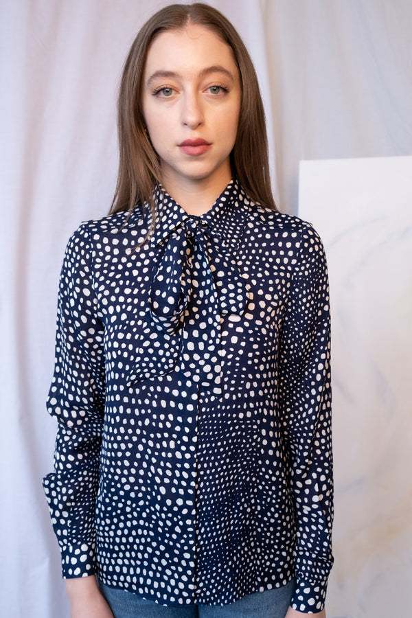 Tibi Dotted Silk Blouse | New with tags