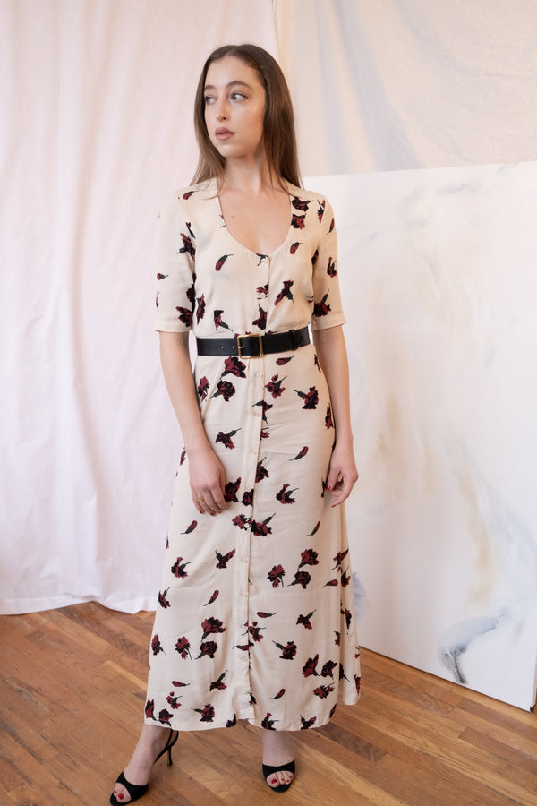 Ganni Floral Button Down Midi Dress